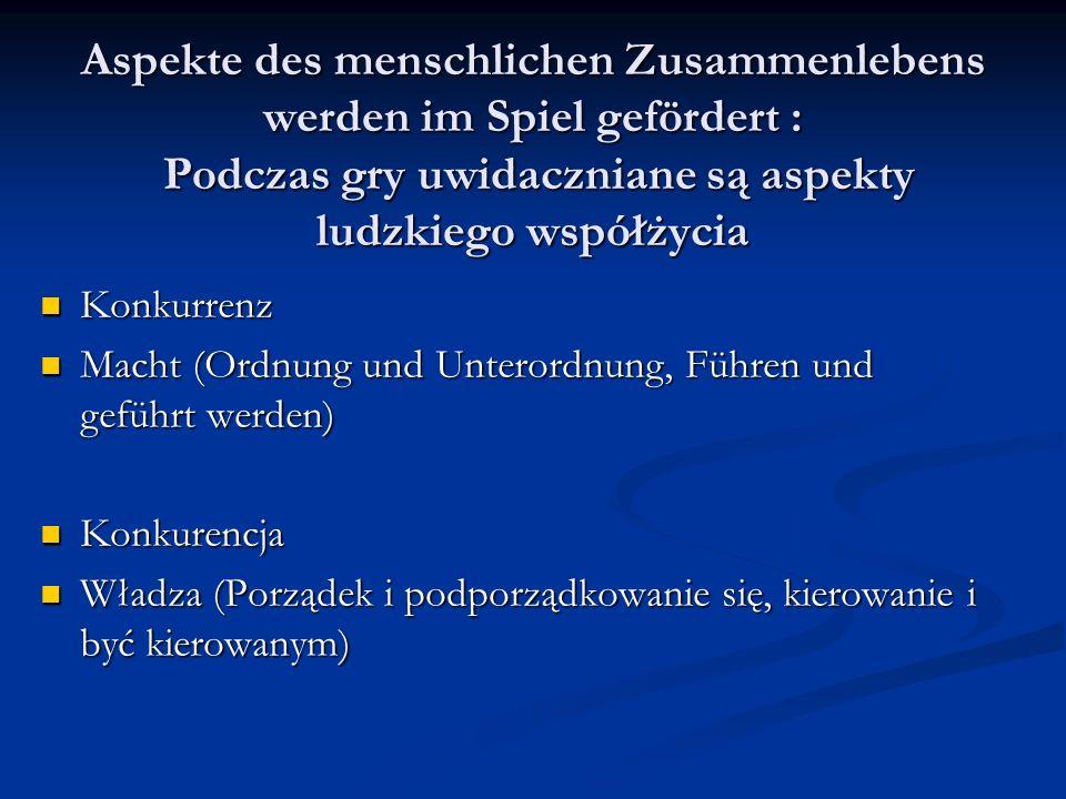 Aspekte des menschlichen Zusammenlebens werden im Spiel gefördert : Podczas gry uwidaczniane są aspekty ludzkiego współżycia Konkurrenz Konkurrenz Macht (Ordnung und Unterordnung, Führen und geführt werden) Macht (Ordnung und Unterordnung, Führen und geführt werden) Konkurencja Konkurencja Władza (Porządek i podporządkowanie się, kierowanie i być kierowanym) Władza (Porządek i podporządkowanie się, kierowanie i być kierowanym)
