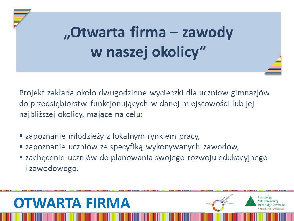 OTWARTA FIRMA Otwarta firma – zawody w naszej okolicy Projekt zakłada około dwugodzinne wycieczki dla uczniów gimnazjów do przedsiębiorstw funkcjonują