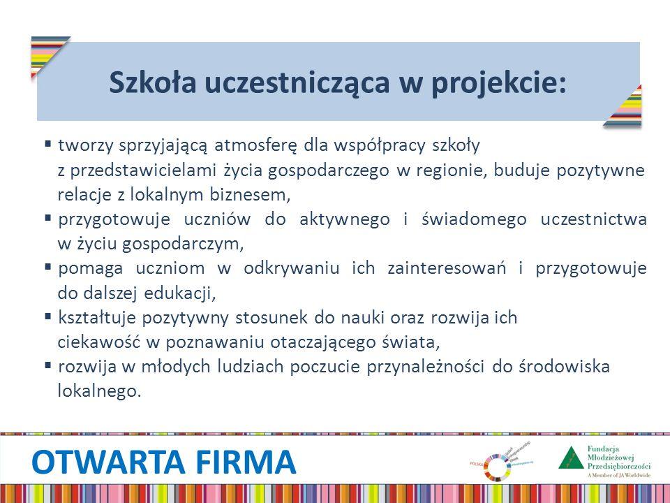 OTWARTA FIRMA Szkoła uczestnicząca w projekcie: tworzy sprzyjającą atmosferę dla współpracy szkoły z przedstawicielami życia gospodarczego w regionie, buduje pozytywne relacje z lokalnym biznesem, przygotowuje uczniów do aktywnego i świadomego uczestnictwa w życiu gospodarczym, pomaga uczniom w odkrywaniu ich zainteresowań i przygotowuje do dalszej edukacji, kształtuje pozytywny stosunek do nauki oraz rozwija ich ciekawość w poznawaniu otaczającego świata, rozwija w młodych ludziach poczucie przynależności do środowiska lokalnego.