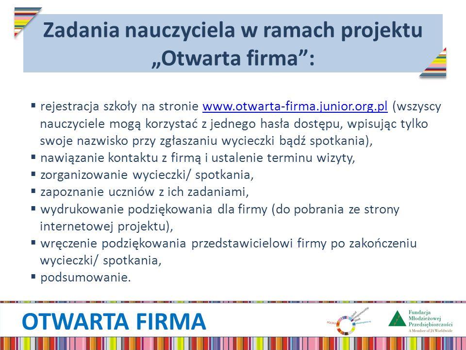OTWARTA FIRMA Zadania nauczyciela w ramach projektu Otwarta firma: rejestracja szkoły na stronie www.otwarta-firma.junior.org.pl (wszyscywww.otwarta-f