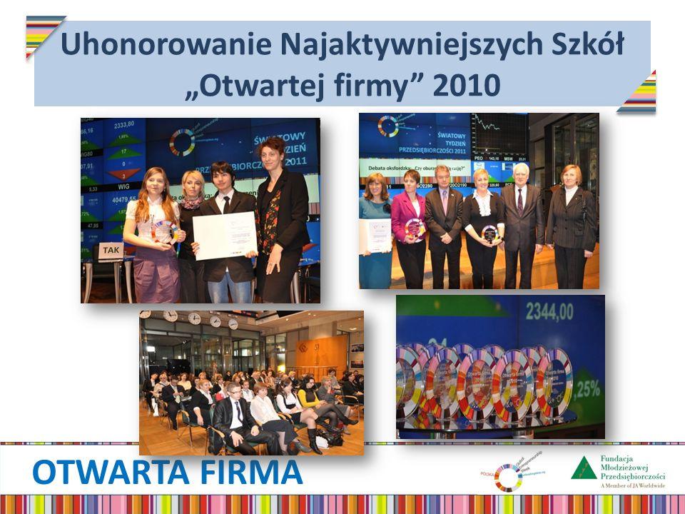 OTWARTA FIRMA Uhonorowanie Najaktywniejszych Szkół Otwartej firmy 2010