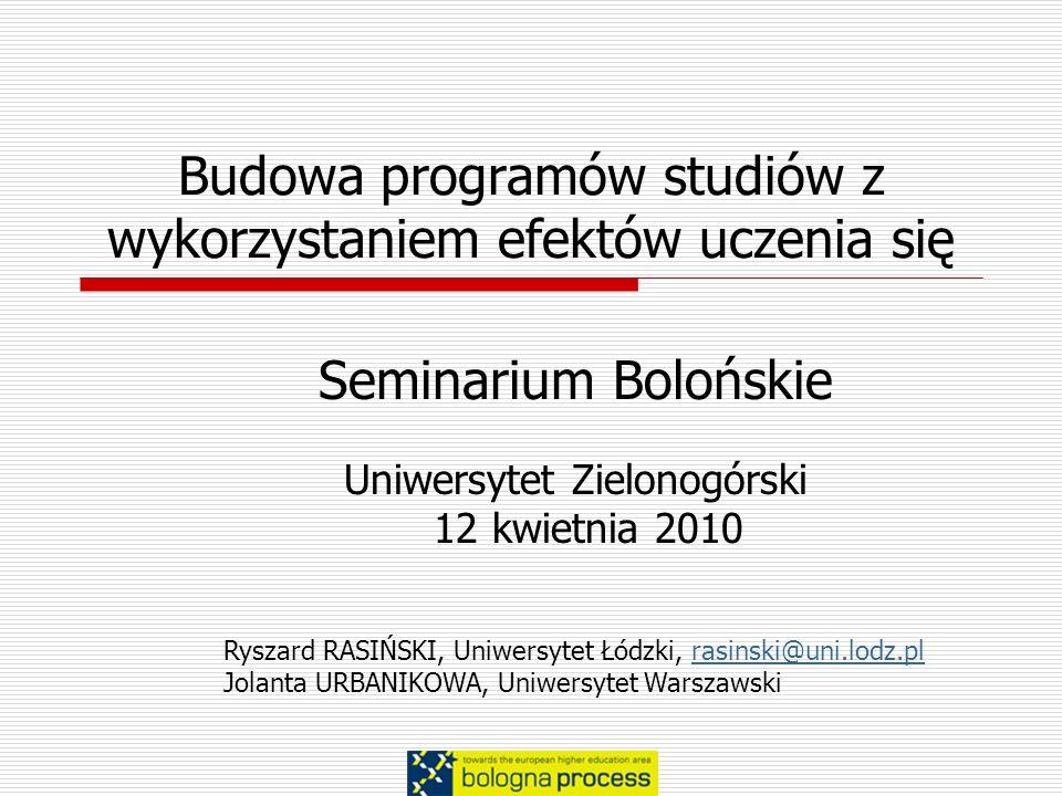 Budowa programów studiów z wykorzystaniem efektów uczenia się Seminarium Bolońskie Uniwersytet Zielonogórski 12 kwietnia 2010 Ryszard RASIŃSKI, Uniwer