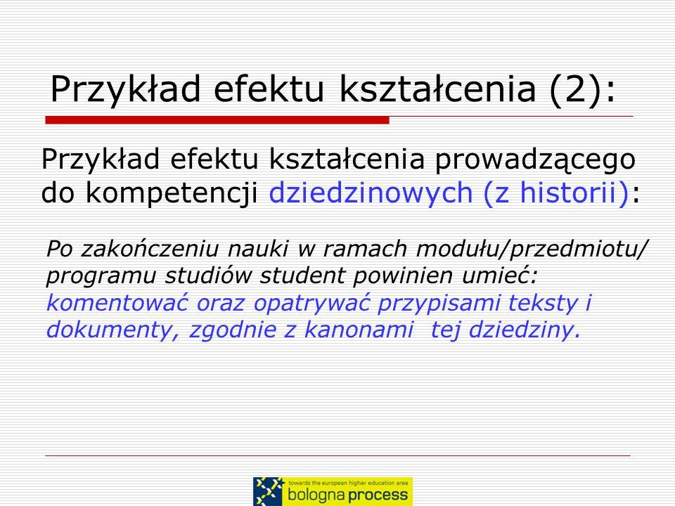 Przykład efektu kształcenia (2): Przykład efektu kształcenia prowadzącego do kompetencji dziedzinowych (z historii): Po zakończeniu nauki w ramach mod