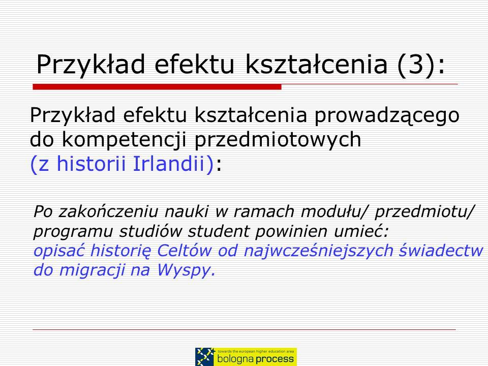 Przykład efektu kształcenia (3): Przykład efektu kształcenia prowadzącego do kompetencji przedmiotowych (z historii Irlandii): Po zakończeniu nauki w