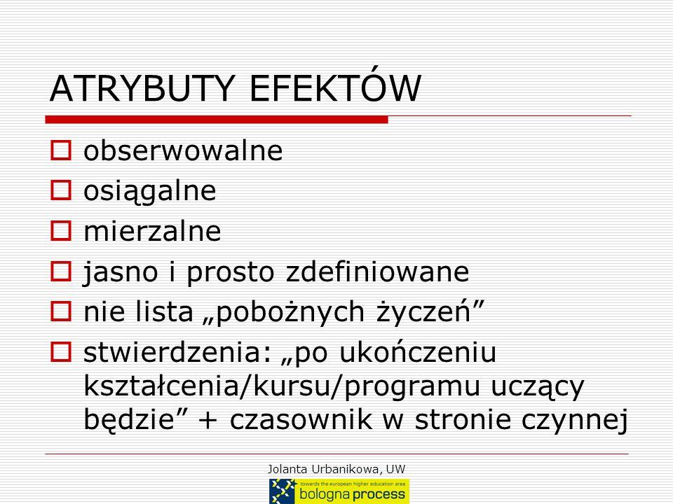 Jolanta Urbanikowa, UW ATRYBUTY EFEKTÓW obserwowalne osiągalne mierzalne jasno i prosto zdefiniowane nie lista pobożnych życzeń stwierdzenia: po ukońc