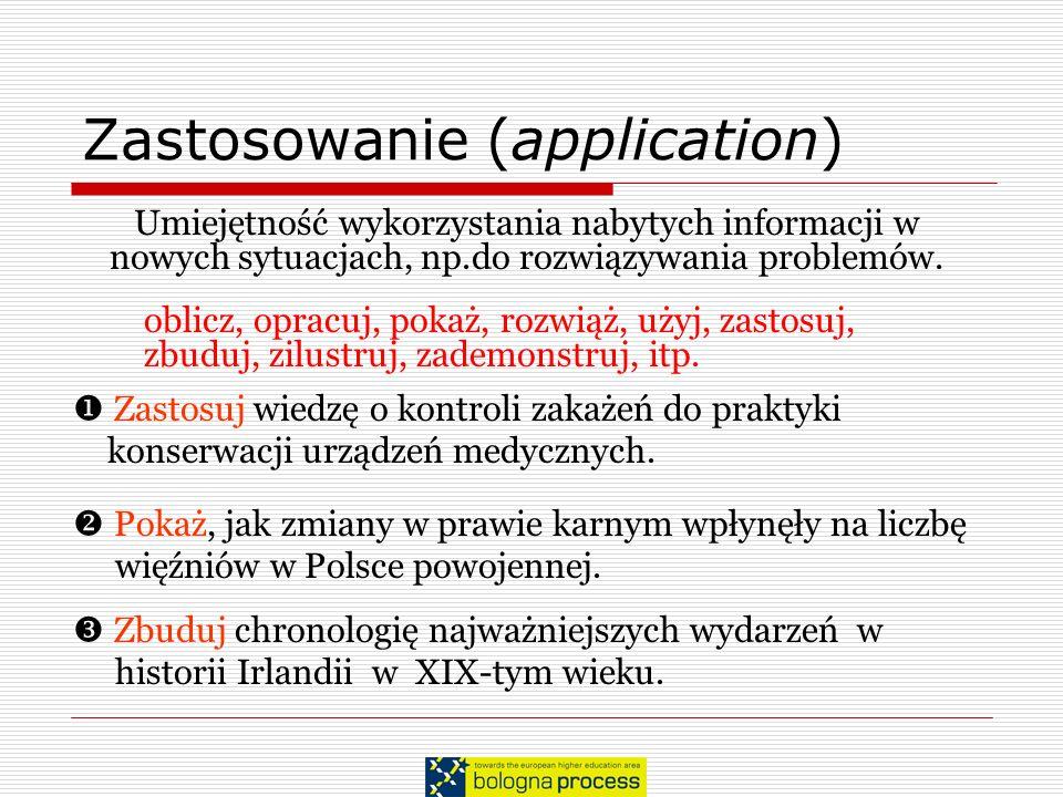 Zastosowanie (application) Umiejętność wykorzystania nabytych informacji w nowych sytuacjach, np.do rozwiązywania problemów. oblicz, opracuj, pokaż, r