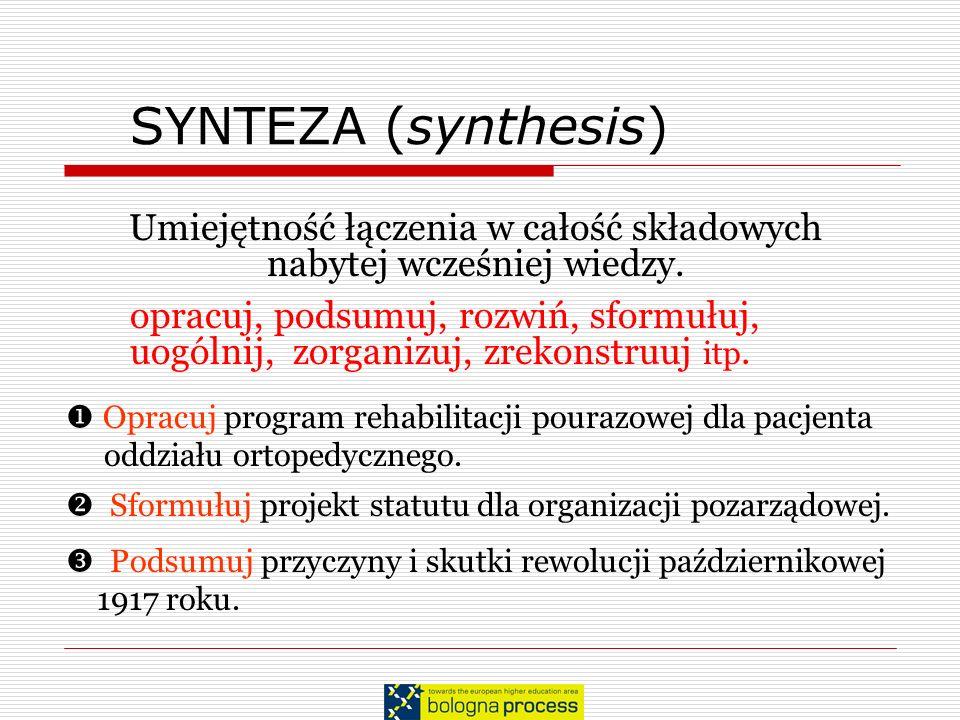 SYNTEZA (synthesis) Opracuj program rehabilitacji pourazowej dla pacjenta oddziału ortopedycznego. Sformułuj projekt statutu dla organizacji pozarządo
