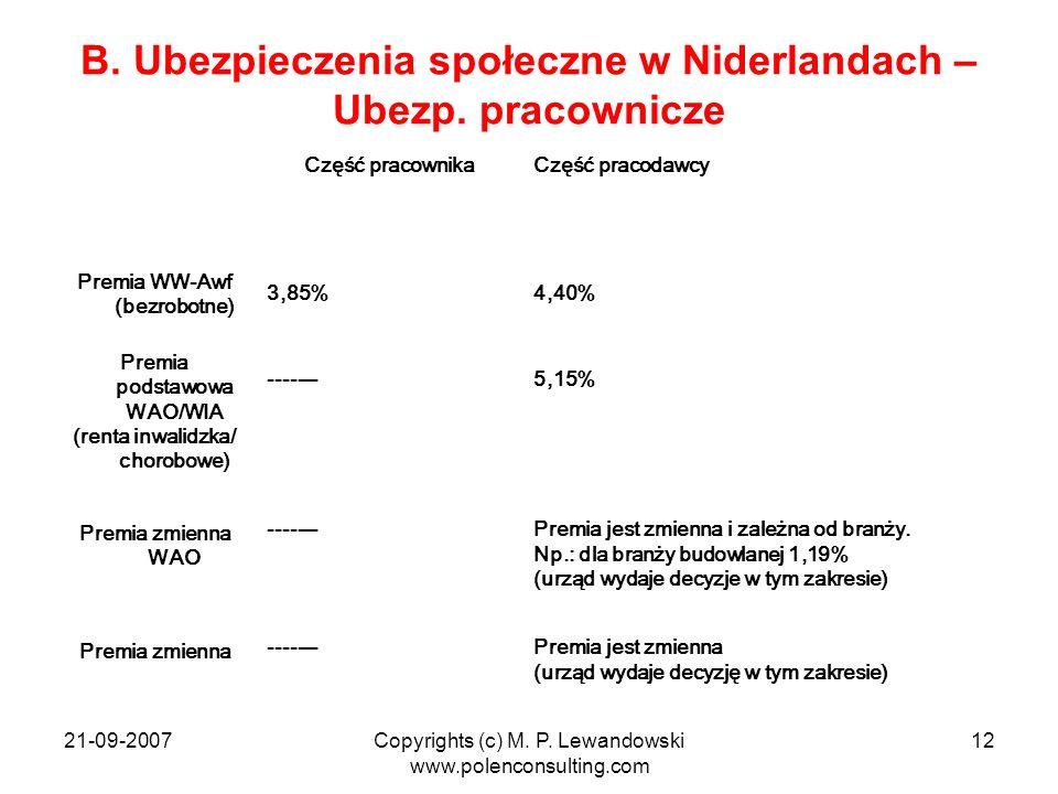 21-09-2007Copyrights (c) M. P. Lewandowski www.polenconsulting.com 12 B. Ubezpieczenia społeczne w Niderlandach – Ubezp. pracownicze Część pracownikaC