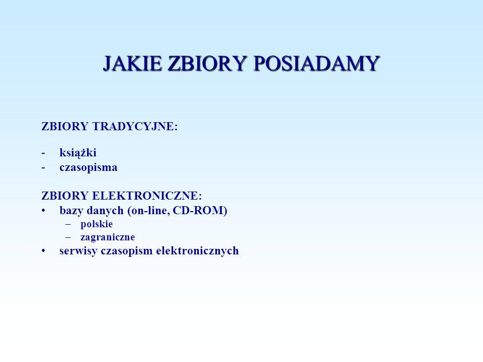 JAKIE ZBIORY POSIADAMY ZBIORY TRADYCYJNE: -książki -czasopisma ZBIORY ELEKTRONICZNE: bazy danych (on-line, CD-ROM) –polskie –zagraniczne serwisy czaso