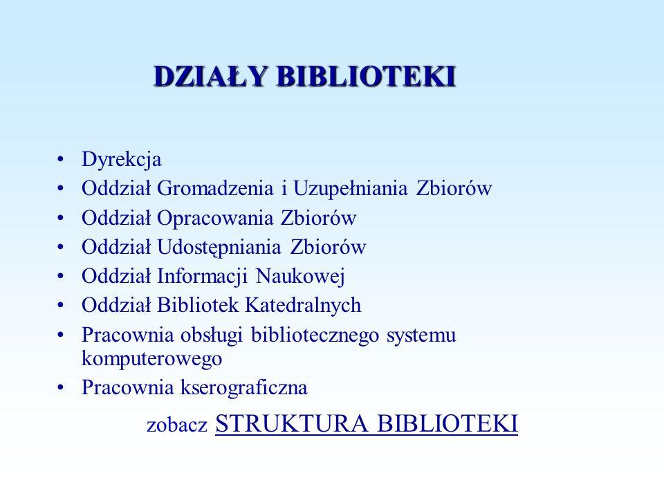 DZIAŁY BIBLIOTEKI Dyrekcja Oddział Gromadzenia i Uzupełniania Zbiorów Oddział Opracowania Zbiorów Oddział Udostępniania Zbiorów Oddział Informacji Nau