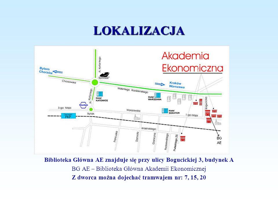LOKALIZACJA Biblioteka Główna AE znajduje się przy ulicy Bogucickiej 3, budynek A BG AE – Biblioteka Główna Akademii Ekonomicznej Z dworca można dojec