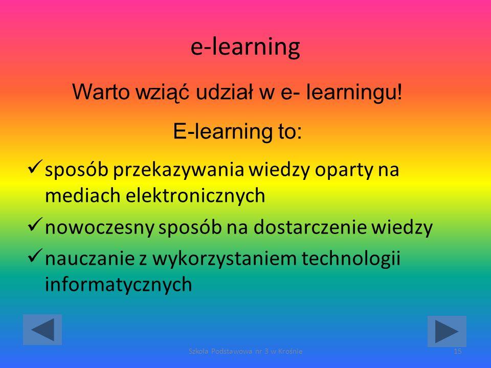 e-learning sposób przekazywania wiedzy oparty na mediach elektronicznych nowoczesny sposób na dostarczenie wiedzy nauczanie z wykorzystaniem technologii informatycznych Szkoła Podstawowa nr 3 w Krośnie15 Warto wziąć udział w e- learningu.
