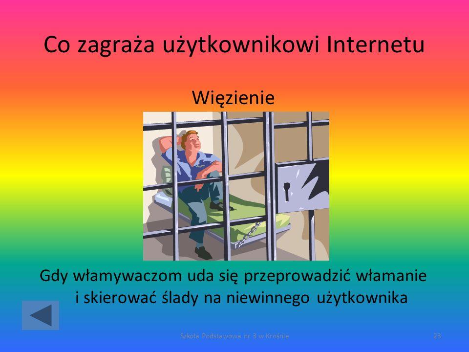 Co zagraża użytkownikowi Internetu Więzienie Gdy włamywaczom uda się przeprowadzić włamanie i skierować ślady na niewinnego użytkownika Szkoła Podstawowa nr 3 w Krośnie23
