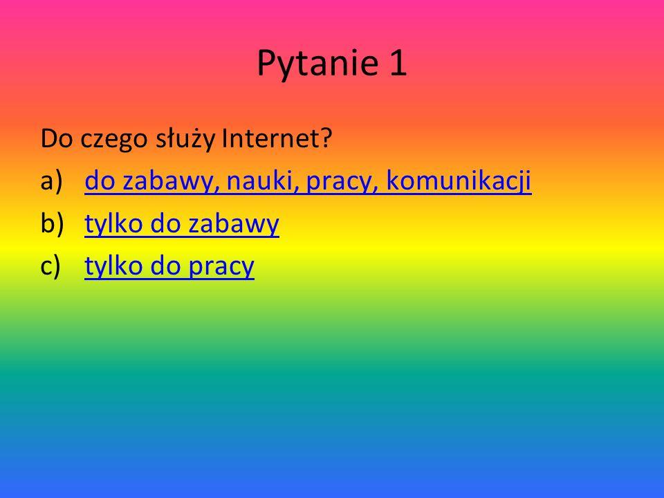 Pytanie 1 Do czego służy Internet.