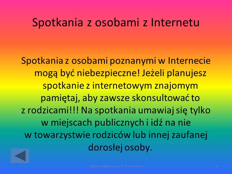 Spotkania z osobami z Internetu Spotkania z osobami poznanymi w Internecie mogą być niebezpieczne.