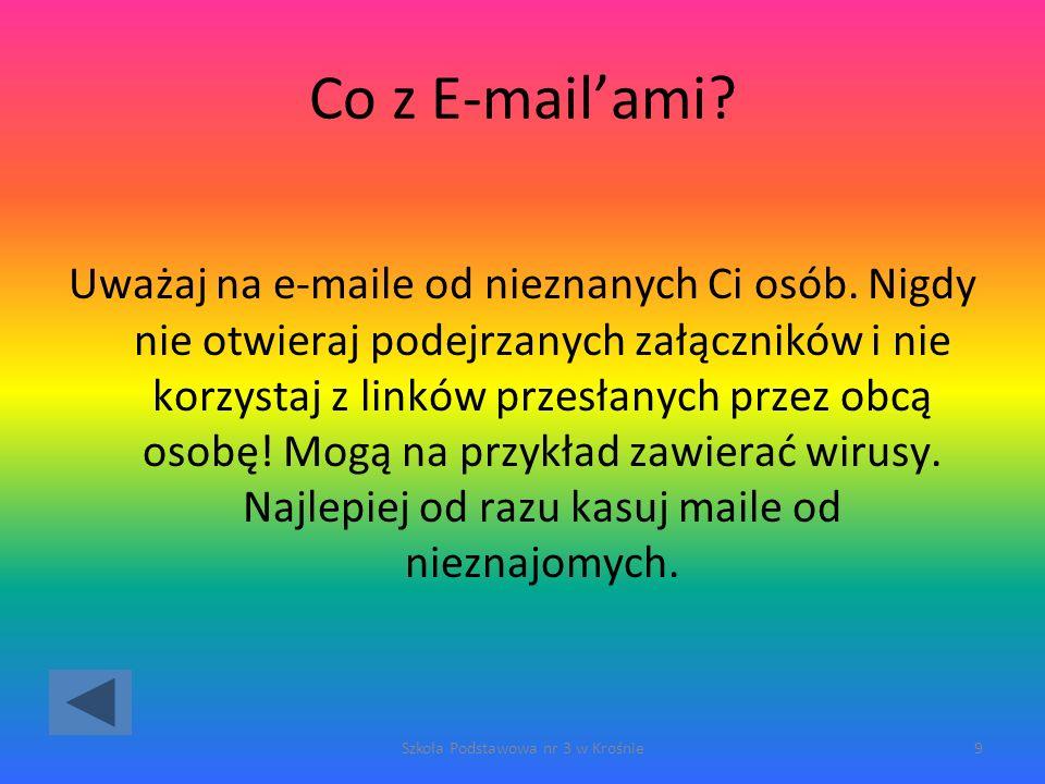 Co z E-mailami.Uważaj na e-maile od nieznanych Ci osób.