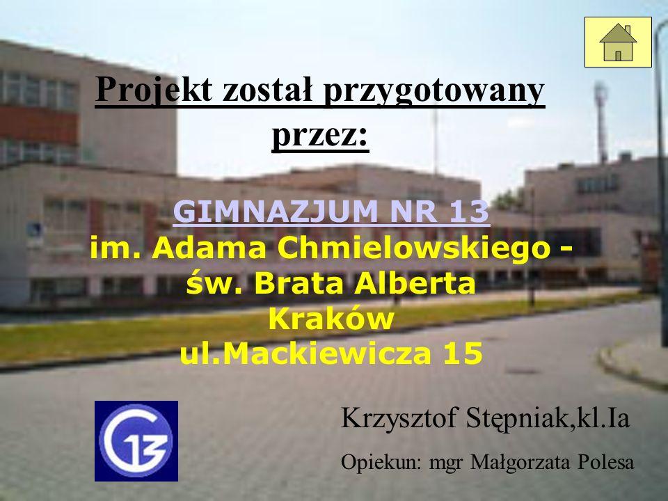 Projekt został przygotowany przez: GIMNAZJUM NR 13 GIMNAZJUM NR 13 im. Adama Chmielowskiego - św. Brata Alberta Kraków ul.Mackiewicza 15 Krzysztof Stę
