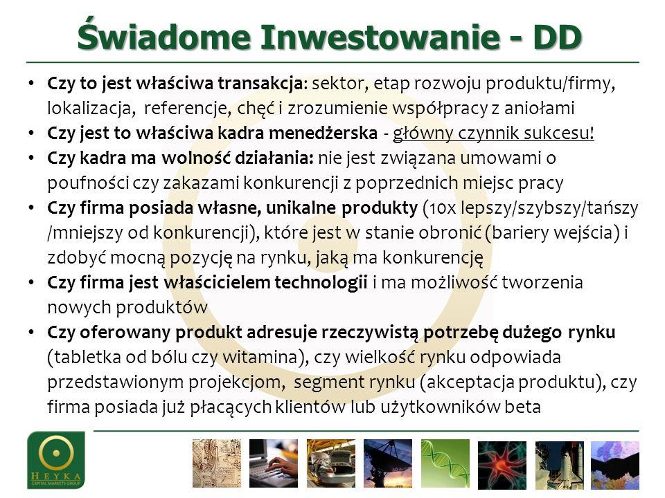 Świadome Inwestowanie - DD Czy to jest właściwa transakcja: sektor, etap rozwoju produktu/firmy, lokalizacja, referencje, chęć i zrozumienie współprac