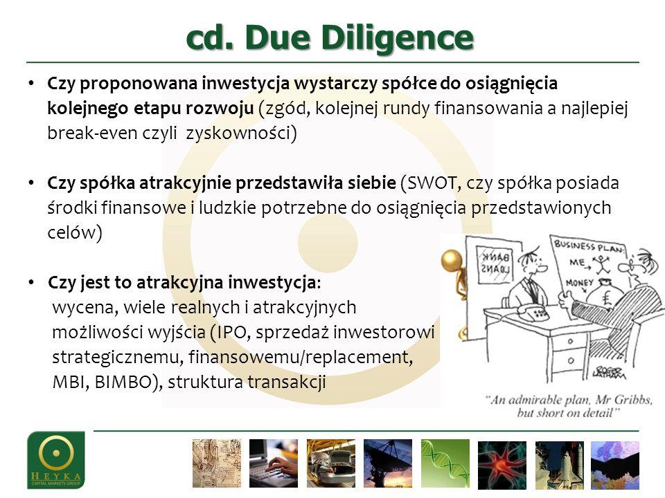 cd. Due Diligence Czy proponowana inwestycja wystarczy spółce do osiągnięcia kolejnego etapu rozwoju (zgód, kolejnej rundy finansowania a najlepiej br