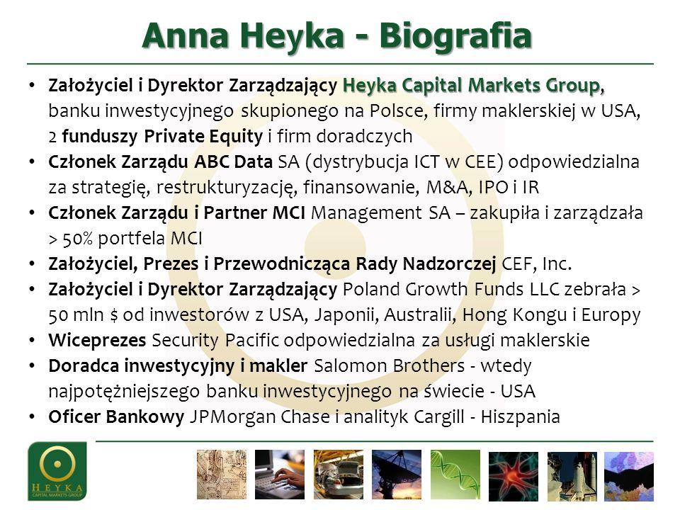 Anna He y ka - Biografia He y ka Capital Markets Group, Założyciel i Dyrektor Zarządzający He y ka Capital Markets Group, banku inwestycyjnego skupion