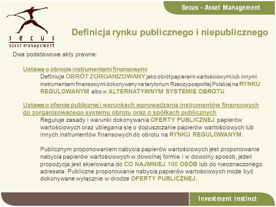 Dwa podstawowe akty prawne: Ustawa o obrocie instrumentami finansowymi Definiuje OBRÓT ZORGANIZOWANY jako obrót papierami wartościowymi lub innymi ins