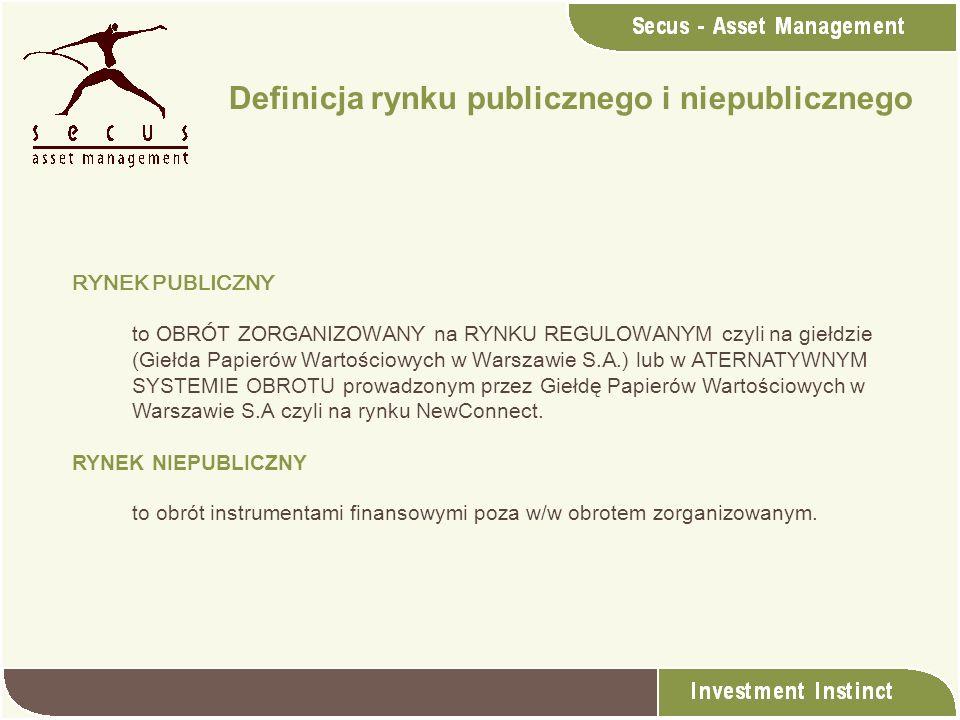 RYNEK PUBLICZNY to OBRÓT ZORGANIZOWANY na RYNKU REGULOWANYM czyli na giełdzie (Giełda Papierów Wartościowych w Warszawie S.A.) lub w A TERNATYWNYM SYS
