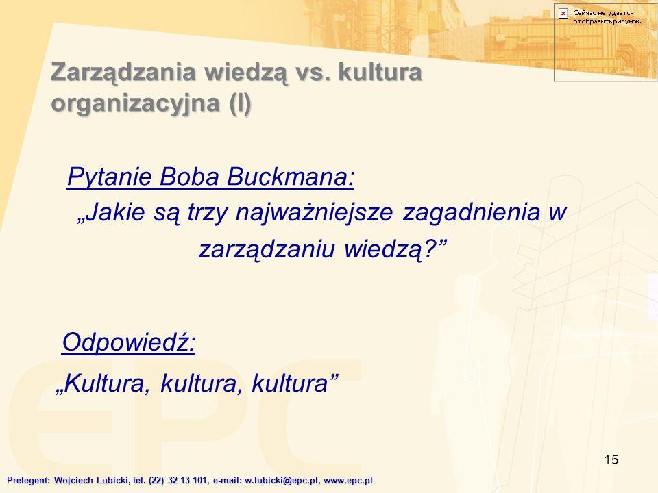 15 Zarządzania wiedzą vs. kultura organizacyjna (I) Jakie są trzy najważniejsze zagadnienia w zarządzaniu wiedzą? Kultura, kultura, kultura Prelegent: