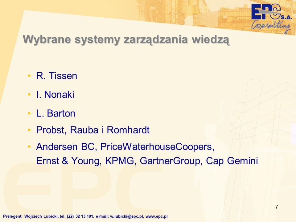 7 Wybrane systemy zarządzania wiedzą R. Tissen I. Nonaki L. Barton Probst, Rauba i Romhardt Andersen BC, PriceWaterhouseCoopers, Ernst & Young, KPMG,