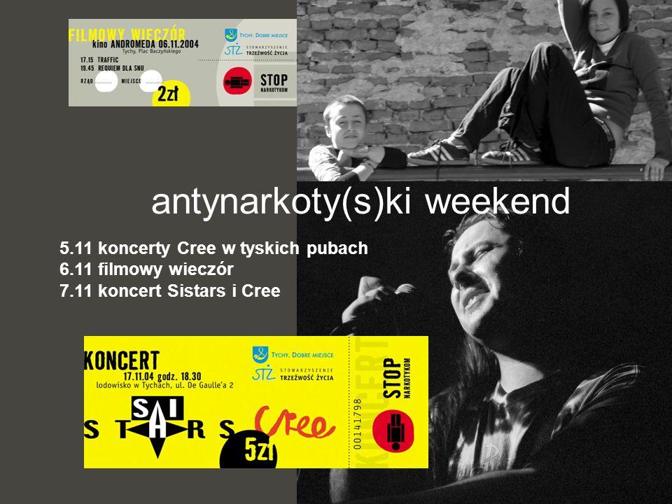 5.11 koncerty Cree w tyskich pubach 6.11 filmowy wieczór 7.11 koncert Sistars i Cree antynarkoty(s)ki weekend