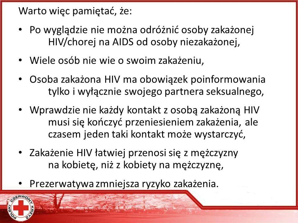 Warto więc pamiętać, że: Po wyglądzie nie można odróżnić osoby zakażonej HIV/chorej na AIDS od osoby niezakażonej, Wiele osób nie wie o swoim zakażeniu, Osoba zakażona HIV ma obowiązek poinformowania tylko i wyłącznie swojego partnera seksualnego, Wprawdzie nie każdy kontakt z osobą zakażoną HIV musi się kończyć przeniesieniem zakażenia, ale czasem jeden taki kontakt może wystarczyć, Zakażenie HIV łatwiej przenosi się z mężczyzny na kobietę, niż z kobiety na mężczyznę, Prezerwatywa zmniejsza ryzyko zakażenia.