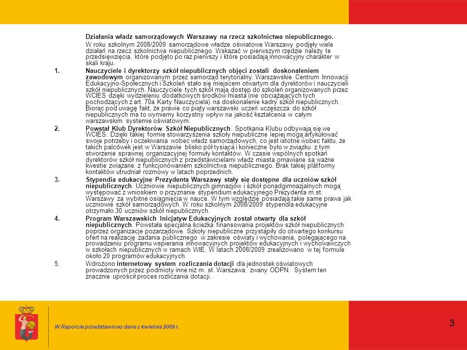 3 Działania władz samorządowych Warszawy na rzecz szkolnictwa niepublicznego.