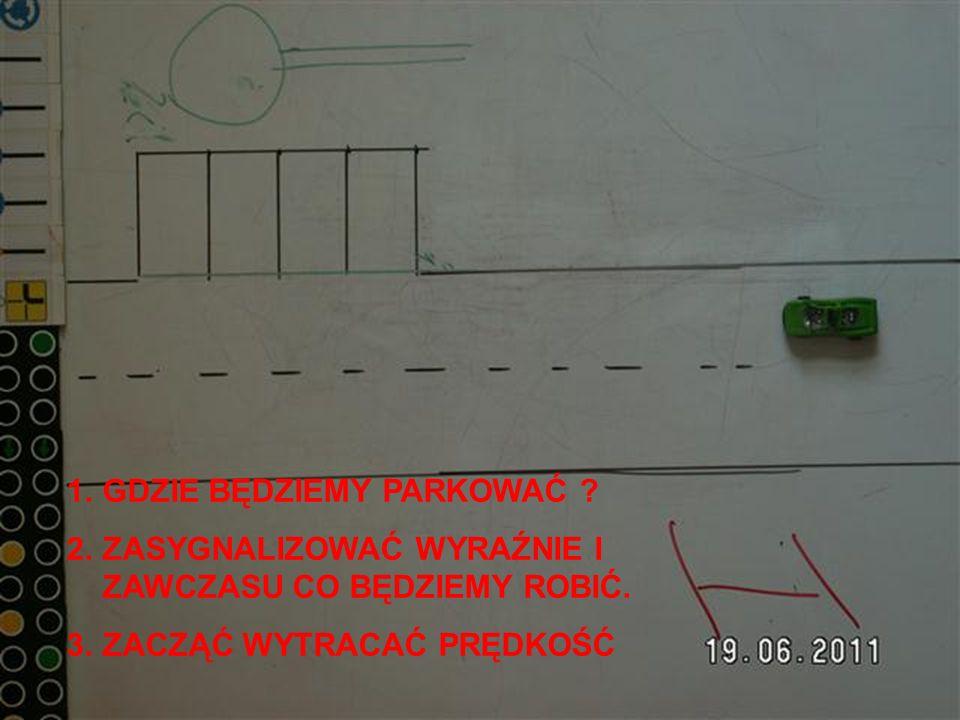 1.Zatrzymać pojazd wg czerwonej linii odstawić się do osi jezdni !!.