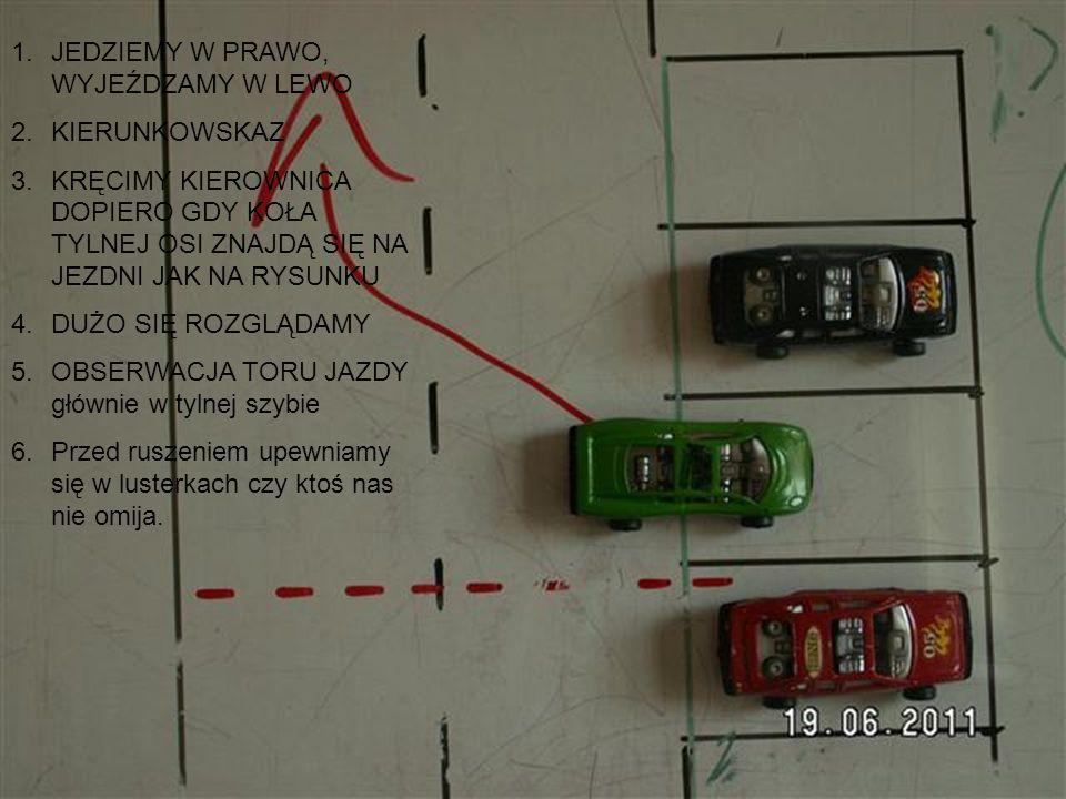 1.Wyjazd w lewo, skręcamy w prawu 2.Uwaga – jeśli z lewej strony nie ma wozu można kręcić kierownicą wcześniej 3.Uwaga – jeśli z lewej strony jest samochód kręcimy kierownicą dopiero gdy samochód wysunie się z miejsca parkingowego 4.Rozglądamy się i jeszcze jedno POWOLI!!!!!.