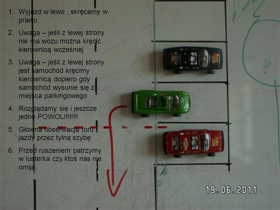 1.Do parkowania przysługuję korekta toru jazdy z użyciem biegu wstecznego.