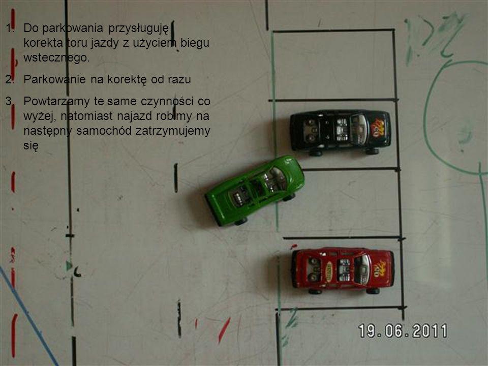 1.Wsteczny bieg, 2.Kręcimy na kierownicy w lewo 3.Samochód przestawia się na wprost od miejsca do zaparkowania 4.Wjechać