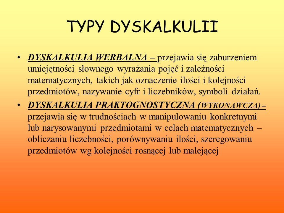 TYPY DYSKALKULII DYSKALKULIA WERBALNA – przejawia się zaburzeniem umiejętności słownego wyrażania pojęć i zależności matematycznych, takich jak oznacz