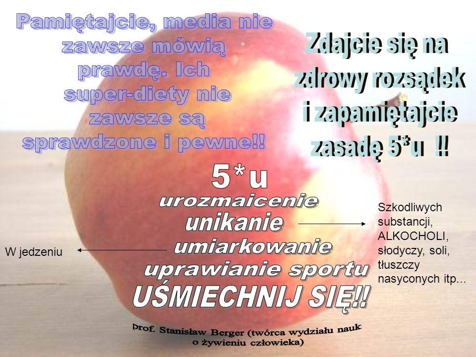 W jedzeniu Szkodliwych substancji, ALKOCHOLI, słodyczy, soli, tłuszczy nasyconych itp...