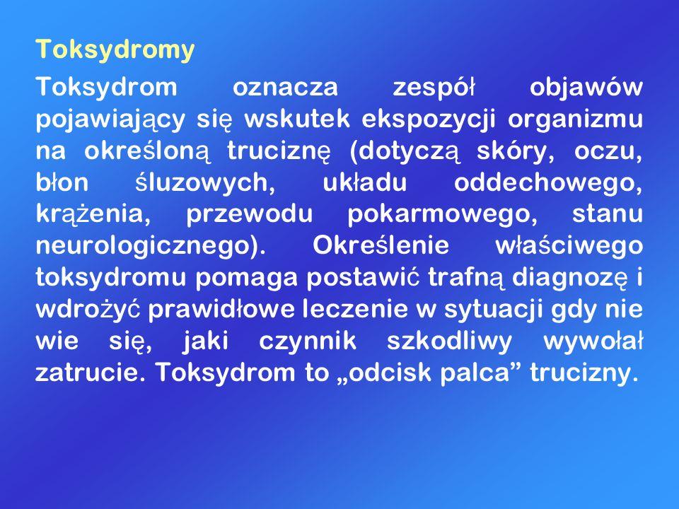 Toksydromy Toksydrom oznacza zespó ł objawów pojawiaj ą cy si ę wskutek ekspozycji organizmu na okre ś lon ą trucizn ę (dotycz ą skóry, oczu, b ł on ś