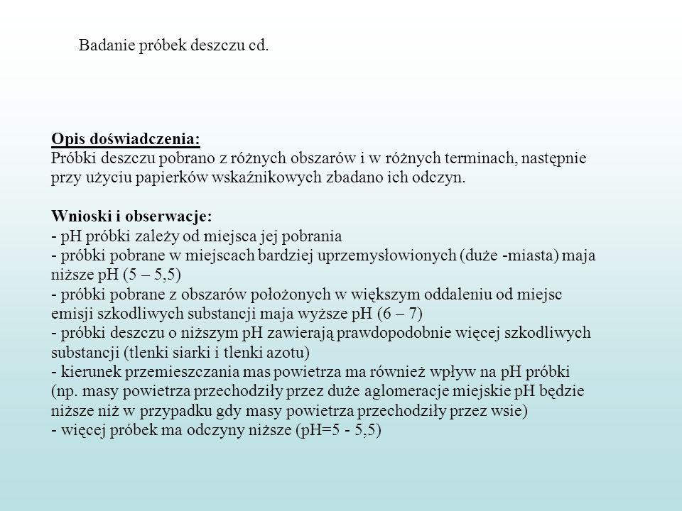 Badanie próbek deszczu cd. Opis doświadczenia: Próbki deszczu pobrano z różnych obszarów i w różnych terminach, następnie przy użyciu papierków wskaźn