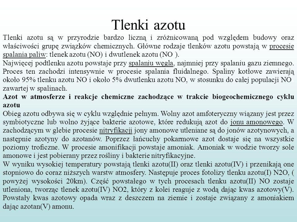 Tlenki azotu Tlenki azotu są w przyrodzie bardzo liczną i zróżnicowaną pod względem budowy oraz właściwości grupę związków chemicznych. Główne rodzaje