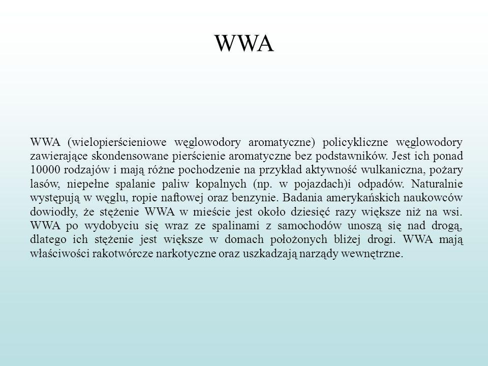 WWA WWA (wielopierścieniowe węglowodory aromatyczne) policykliczne węglowodory zawierające skondensowane pierścienie aromatyczne bez podstawników. Jes