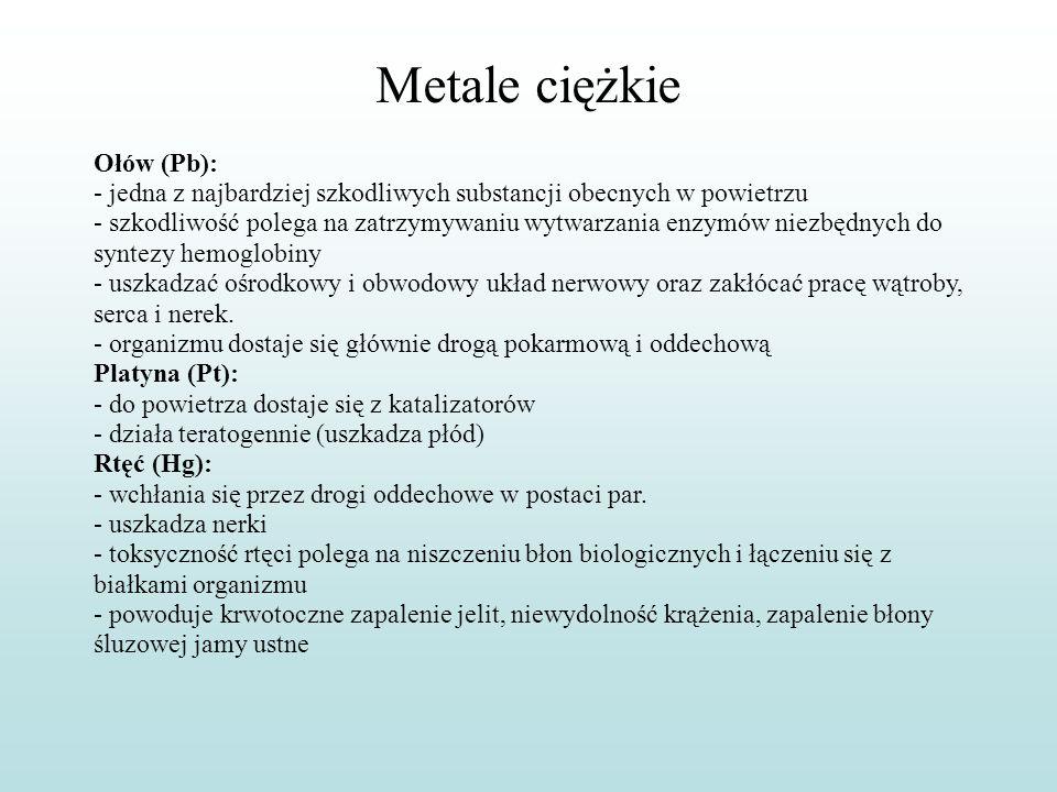 Metale ciężkie Ołów (Pb): - jedna z najbardziej szkodliwych substancji obecnych w powietrzu - szkodliwość polega na zatrzymywaniu wytwarzania enzymów
