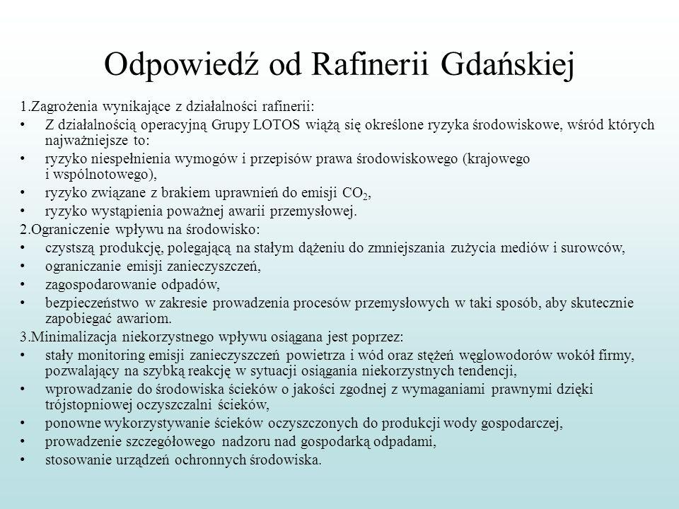 Odpowiedź od Rafinerii Gdańskiej 1.Zagrożenia wynikające z działalności rafinerii: Z działalnością operacyjną Grupy LOTOS wiążą się określone ryzyka ś