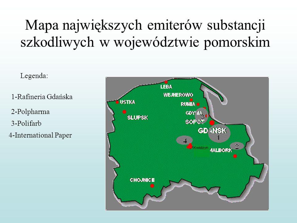Mapa największych emiterów substancji szkodliwych w województwie pomorskim Legenda: 1-Rafineria Gdańska 2-Polpharma 3-Polifarb 4-International Paper