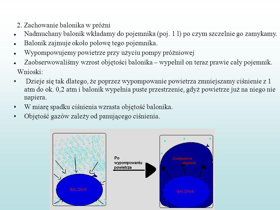 2. Zachowanie balonika w próżni Nadmuchany balonik wkładamy do pojemnika (poj. 1 l) po czym szczelnie go zamykamy. Balonik zajmuje około połowę tego p