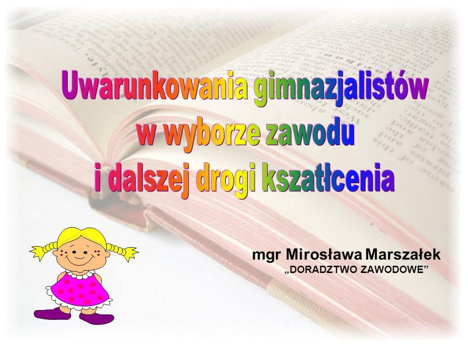 mgr Mirosława Marszałek DORADZTWO ZAWODOWE