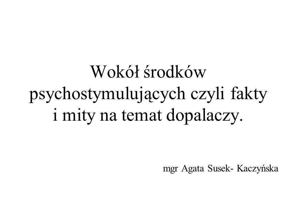 Wokół środków psychostymulujących czyli fakty i mity na temat dopalaczy. mgr Agata Susek- Kaczyńska