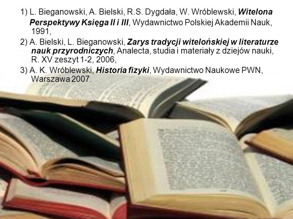 1) L. Bieganowski, A. Bielski, R.S. Dygdała, W. Wróblewski, Witelona Perspektywy Księga II i III, Wydawnictwo Polskiej Akademii Nauk, 1991, 2) A. Biel