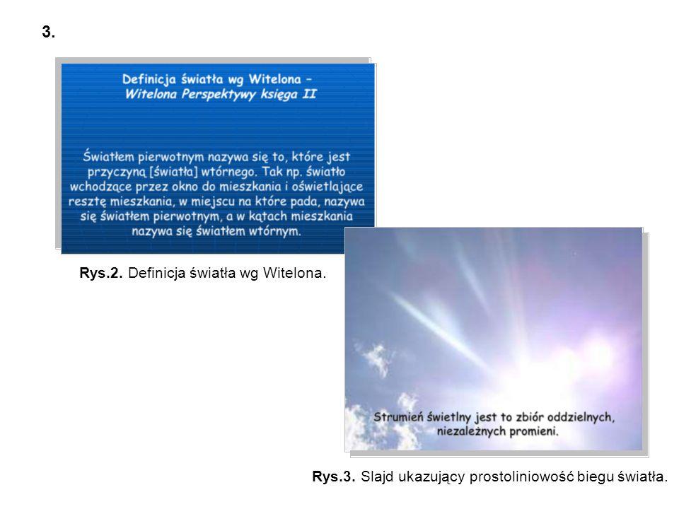 3. Rys.2. Definicja światła wg Witelona. Rys.3. Slajd ukazujący prostoliniowość biegu światła.