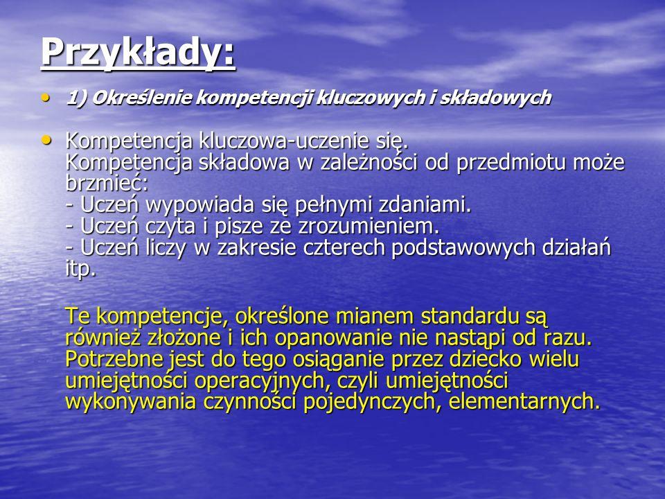 Przykłady: 1) Określenie kompetencji kluczowych i składowych 1) Określenie kompetencji kluczowych i składowych Kompetencja kluczowa-uczenie się. Kompe